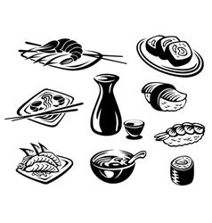 Japanese seafood restaurant vector