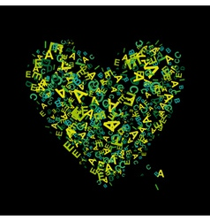 Heart shape with letters vector image
