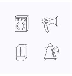 Washing machine teapot and hair-dryer icons vector