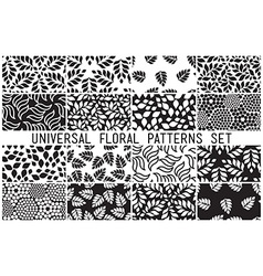 Universal floral seamless patterns set vector