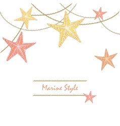 White happy decorative sea card with starfishes vector