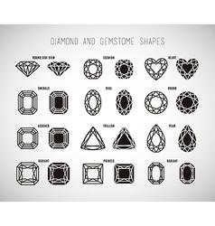 Diamond and gemstone shape set vector image