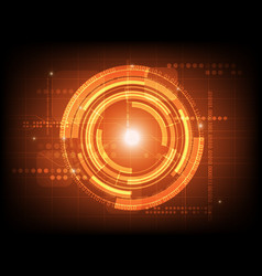 abstract orange circle digital technology vector image vector image