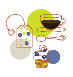 Blueberry tea bag and cup of tea with cupcake vector