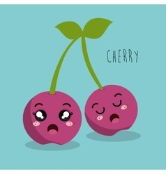 cartoon cherry fruit facial expression design vector image