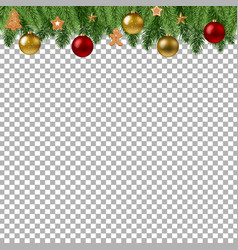 christmas branch border with balls vector image vector image