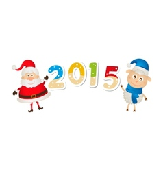 Christmas sheep and Santa Claus with numbers vector image