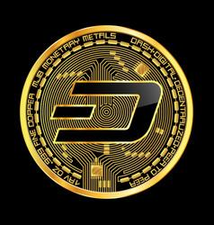 crypto currency dash golden symbol vector image vector image