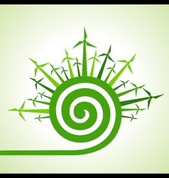 Ecology concept - wind mill with spiral design vector image