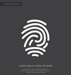 Fingerprint premium icon white on dark background vector