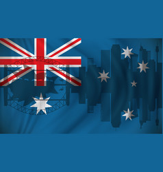 flag of australia with sydney skyline vector image