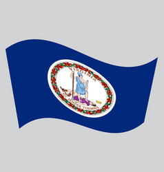 Flag of virginia waving on gray background vector