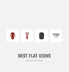 flat icon clothes set of underclothes cravat vector image vector image
