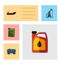 Flat icon petrol set of rig fuel canister boat vector