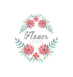 flower shop colorful logo template label or badge vector image vector image