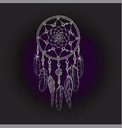 hand drawn ornate dreamcatcher in white contour vector image vector image