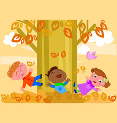 Kids playing with leaves vector