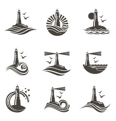 lighthouse icon set vector image vector image