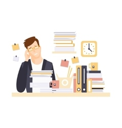 Man office worker in office cubicle with headache vector