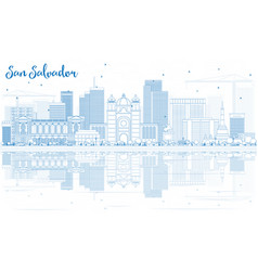 Outline san salvador skyline with blue buildings vector