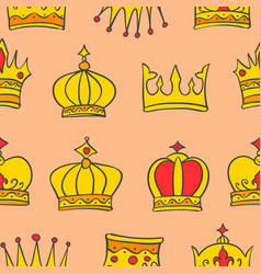 Pattern of gold crown style collection vector