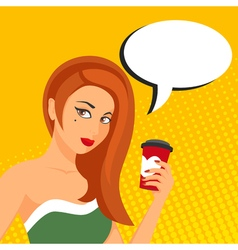 Pop art of woman with speech bubble and a tea or vector image
