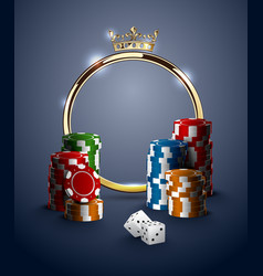 Round casino roulette golden frame with crown vector