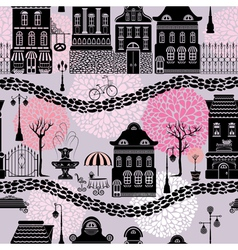 Seamless pattern with fairy tale houses lanterns s vector