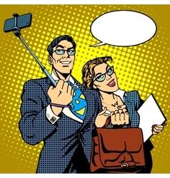 Selfie stick businessman and businesswoman photo vector