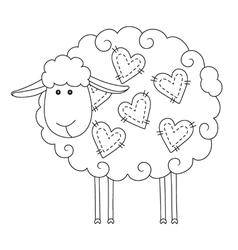 Sheep wit herats vector