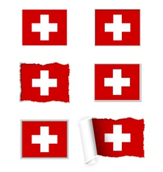 Switzerland flag set vector