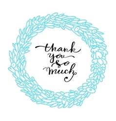 Thank you hand drawn lettering vector image vector image