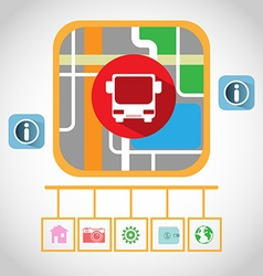Travel by bus gps navigation map vector
