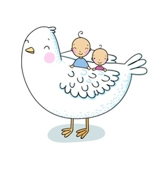 Two cute baby and a bird vector