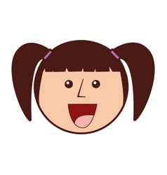young girl head avatar character vector image