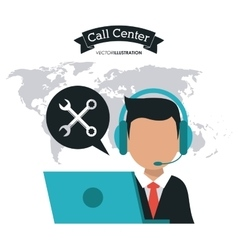 Operator assistant man headphone call center icon vector