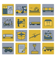 Cargo shipping delivery icon set thin line design vector