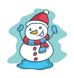 Cute snowman collection christmas theme vector