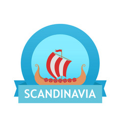 Logo with scandinavian drakkar vector