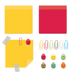 Color paper stickers for notes flat post icons vector