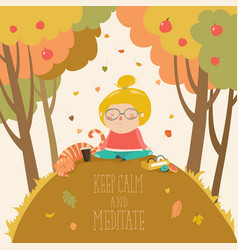 cute girl practicing yoga in autumn park vector image