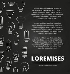 Chalkboard poster with light bulbs vector