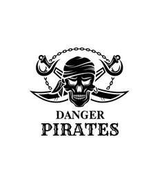 Pirate skull head icon for piracy flag vector