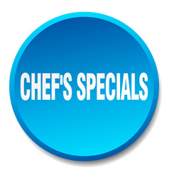 Chefs specials blue round flat push button vector