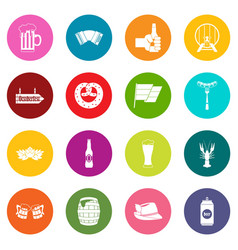 Oktoberfest icons many colors set vector