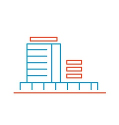 Linear of color building on white background vector