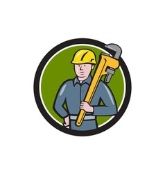 Plumber holding wrench circle cartoon vector