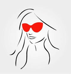 Stylish girl wearing shades vector