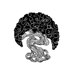 Graphics bonsai tree curve trunk big crown vector