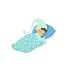 adorable little boy sleeping on his bed wearing vector image vector image